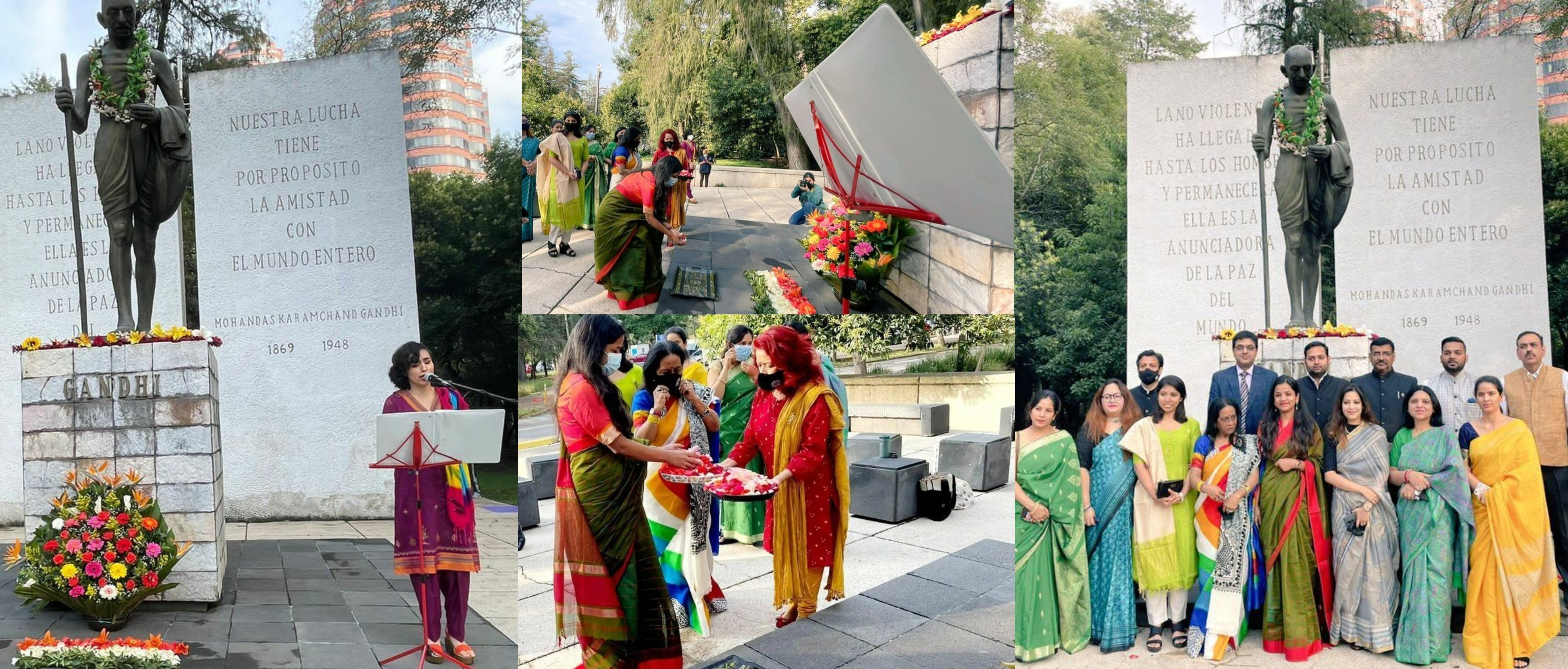 Embassy celebrated Gandhi Jayanti on 2 October. Cd'A Ms. Juhi Rai paid floral tributes to Mahatma Gandhi statue which was followed by rendering of Vaishnav Janto by local singer.