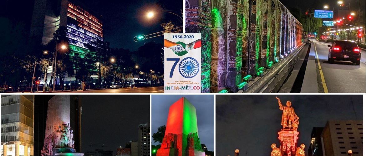 Indian tricolors on display on the Mexican Senate building and five major monuments of Mexico City on the night of 1 August on the occasion of 70th anniversary of diplomatic relations